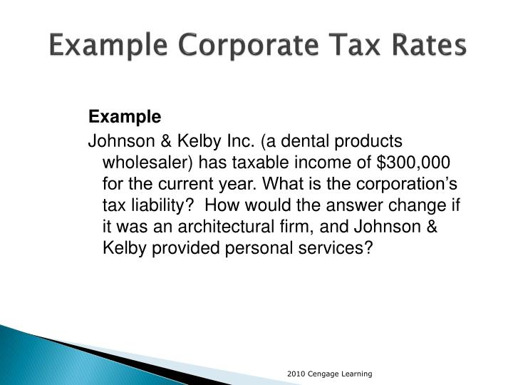 Example Corporate Tax Rates