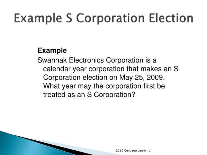 Example S Corporation Election