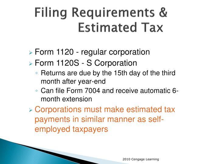Filing Requirements & Estimated Tax