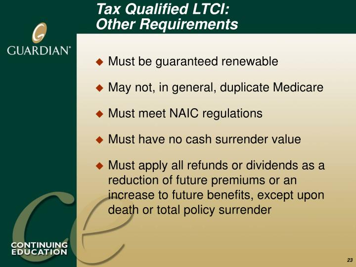 Tax Qualified LTCI: