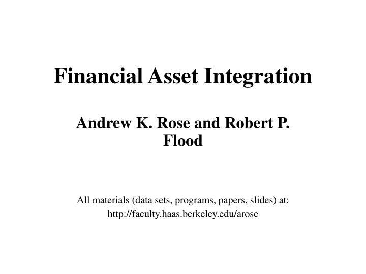 Financial asset integration