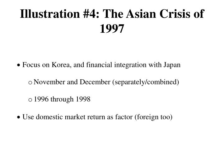 Illustration #4: The Asian Crisis of 1997
