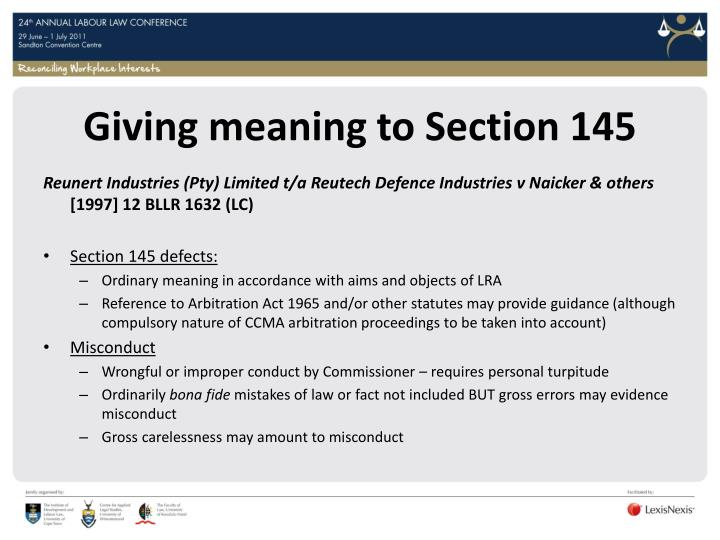 Giving meaning to Section 145