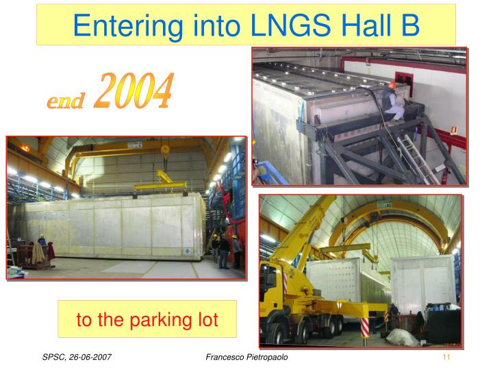 Entering into LNGS Hall B