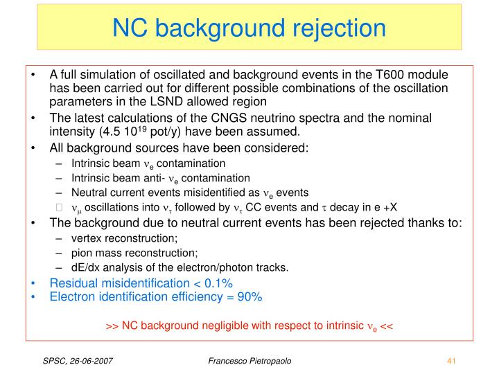 NC background rejection