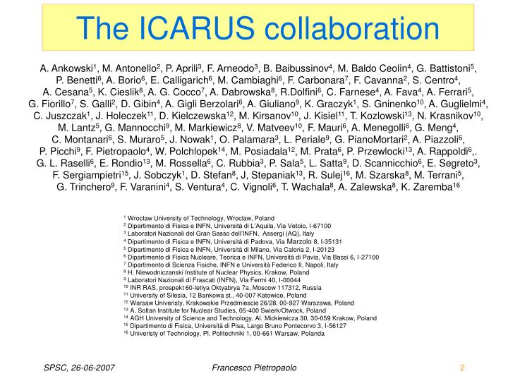 The ICARUS collaboration