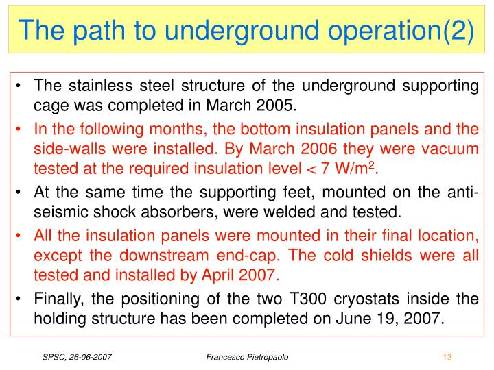 The path to underground operation(2)