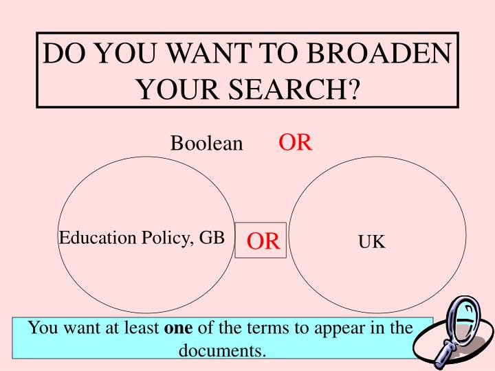 DO YOU WANT TO BROADEN YOUR SEARCH?