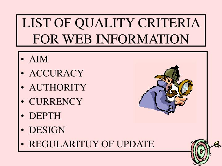 LIST OF QUALITY CRITERIA FOR WEB INFORMATION
