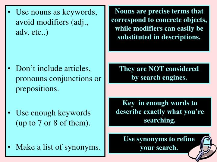 Use nouns as keywords, avoid modifiers (adj., adv. etc..)