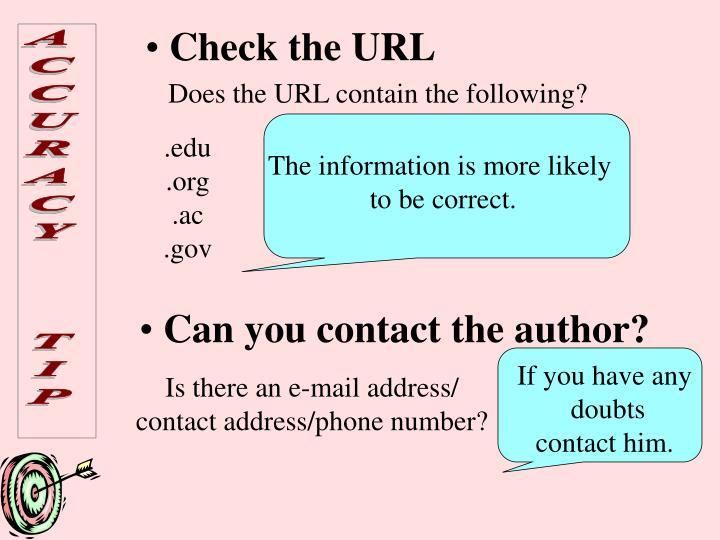 Check the URL