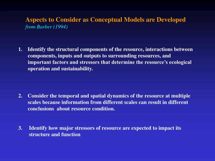 Aspects to Consider as Conceptual Models are Developed