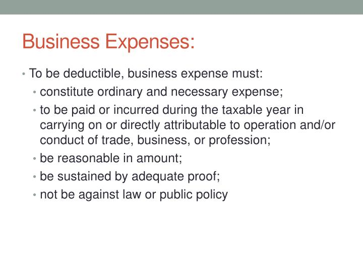 Business Expenses:
