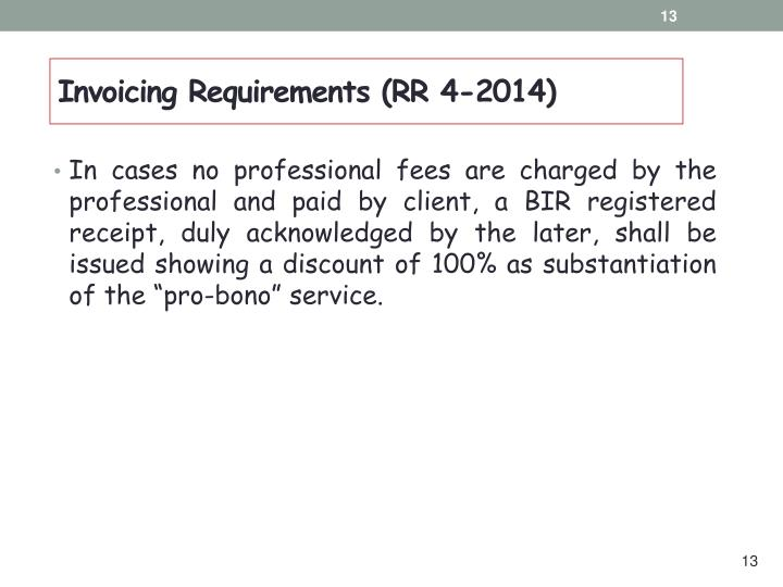 Invoicing Requirements (RR 4-2014)