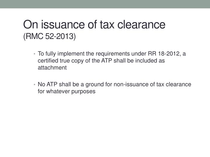 On issuance of tax clearance
