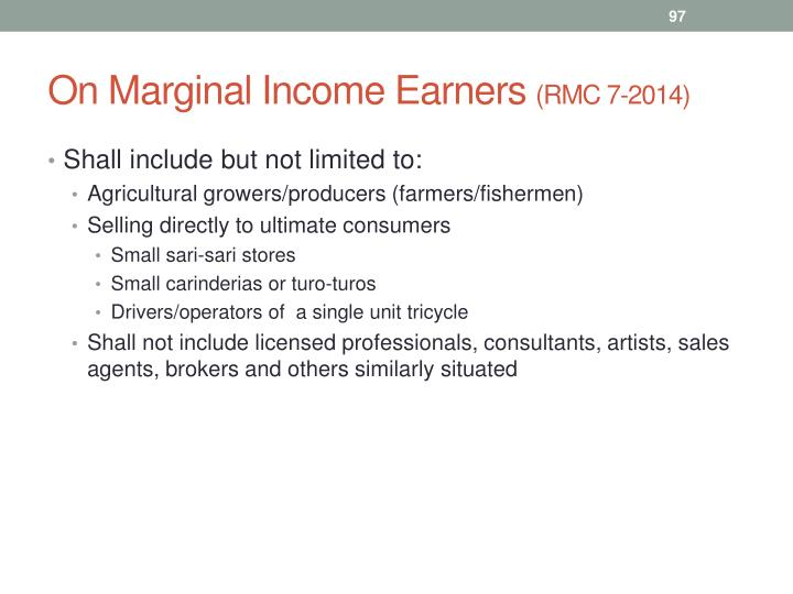 On Marginal Income Earners