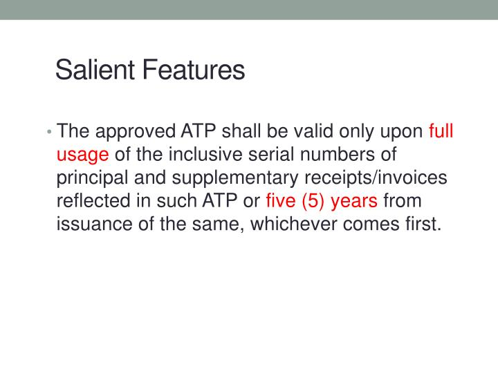 The approved ATP shall be valid only upon