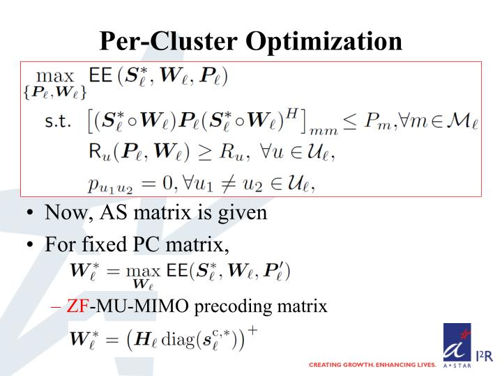 Per-Cluster Optimization