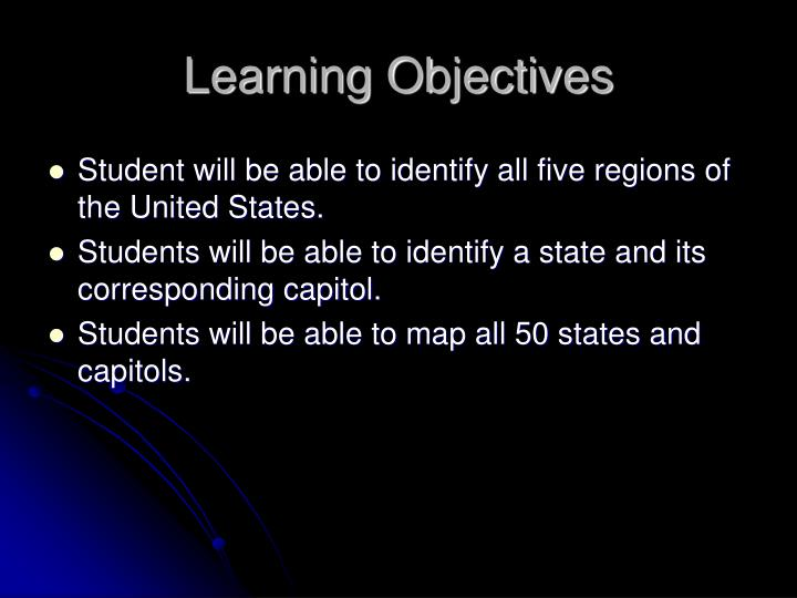 Student will be able to identify all five regions of the United States.