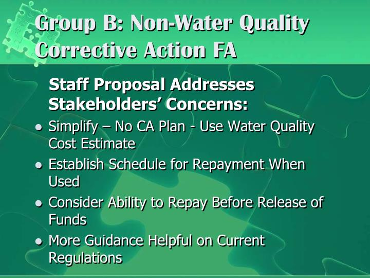 Group B: Non-Water Quality