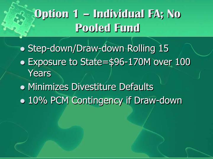 Option 1 – Individual FA; No Pooled Fund