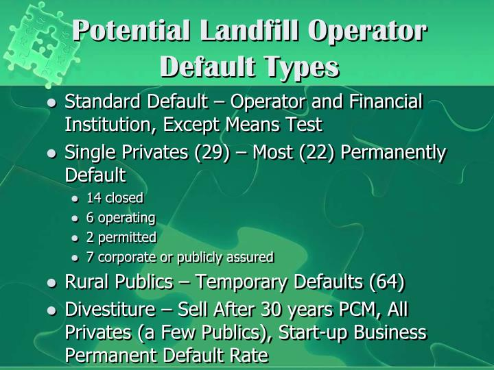 Potential Landfill Operator Default Types