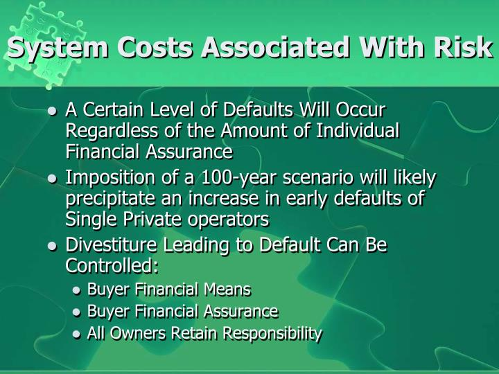System Costs Associated With Risk