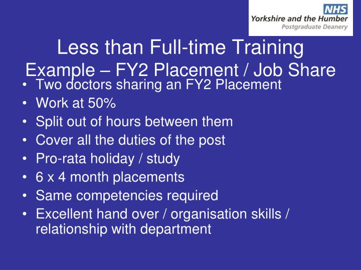 Less than Full-time Training
