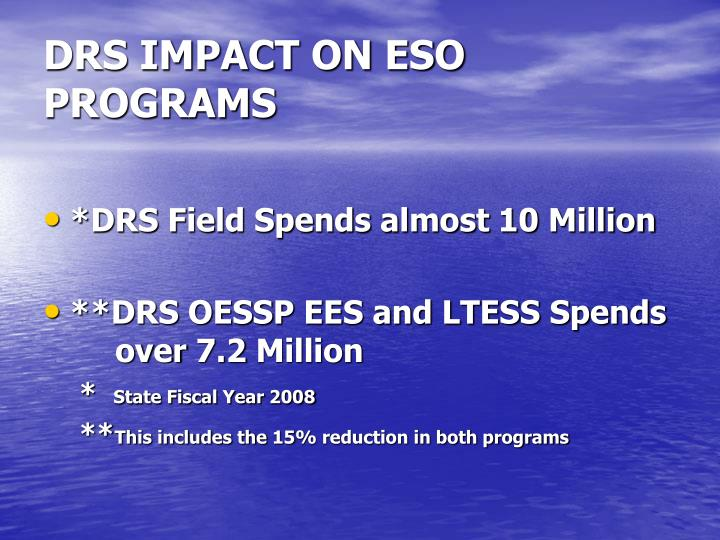 DRS IMPACT ON ESO PROGRAMS