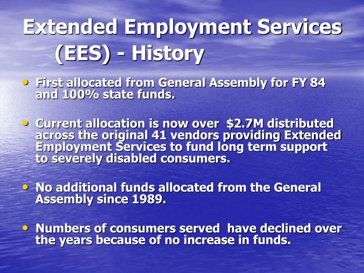 Extended Employment Services (EES) - History