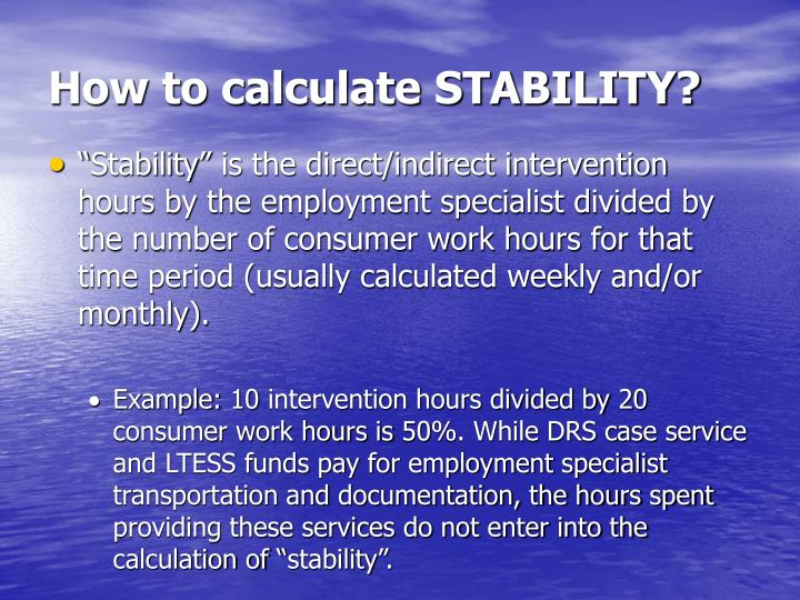 How to calculate STABILITY?
