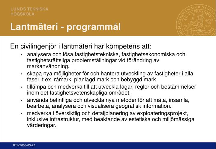 Lantmäteri - programmål