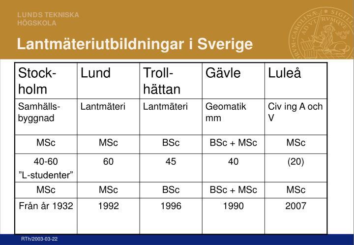 Lantmäteriutbildningar i Sverige