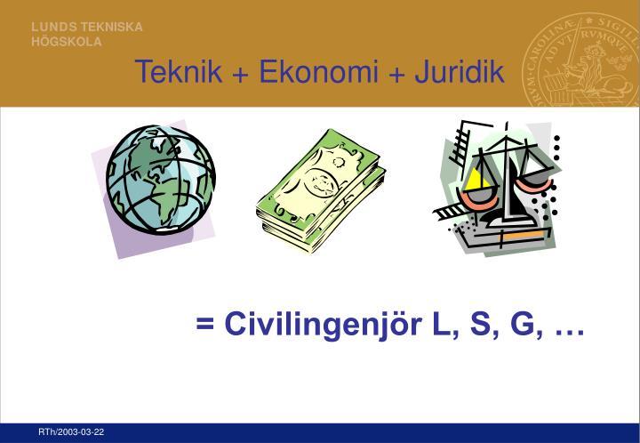 Teknik + Ekonomi + Juridik