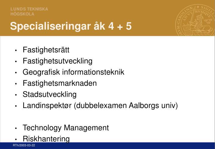 Specialiseringar åk 4 + 5