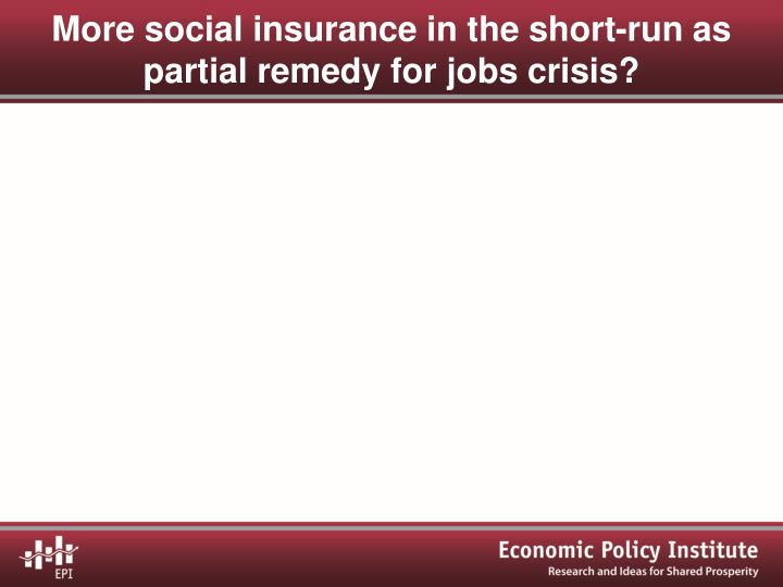 More social insurance in the short-run as partial remedy for jobs crisis?