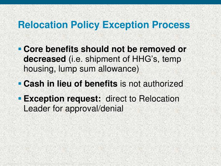 Relocation Policy Exception Process