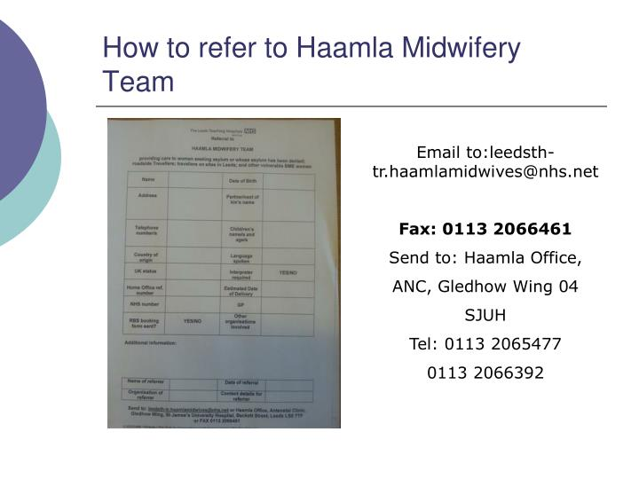 How to refer to Haamla Midwifery Team