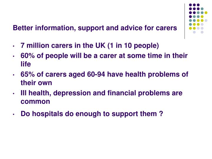 Better information, support and advice for carers