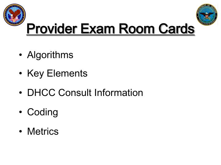 Provider Exam Room Cards