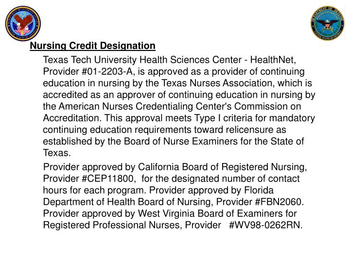 Nursing Credit Designation