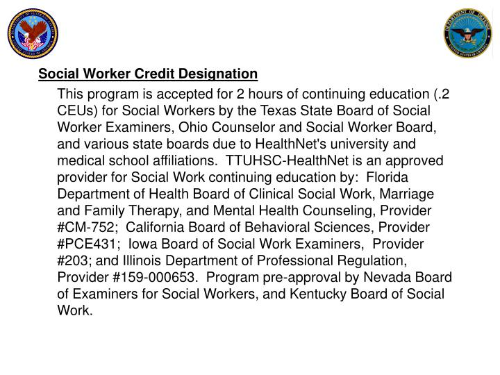 Social Worker Credit Designation