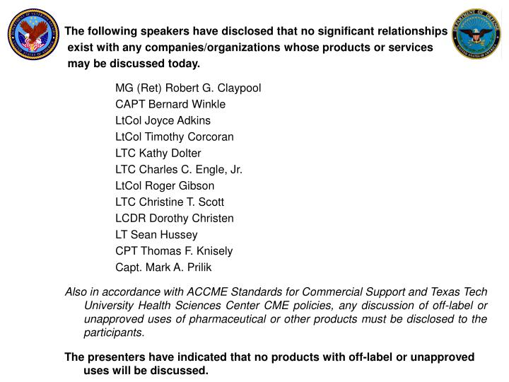The following speakers have disclosed that no significant relationships