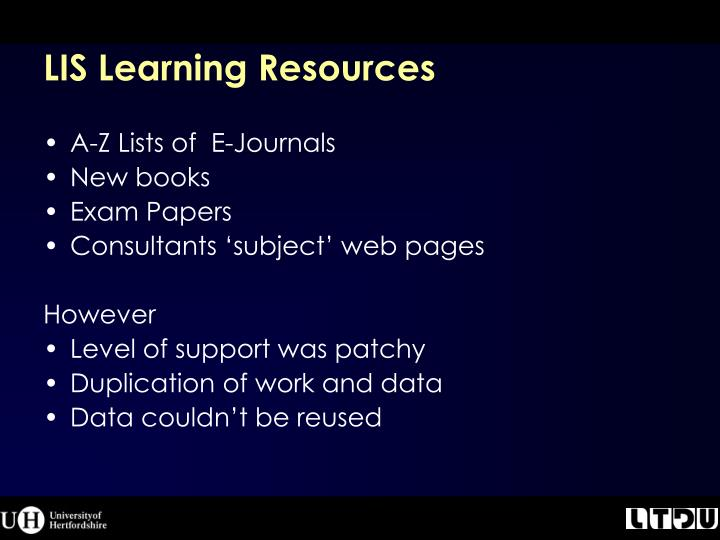LIS Learning Resources