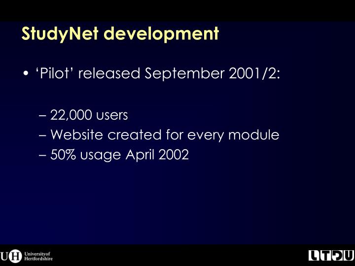 StudyNet development