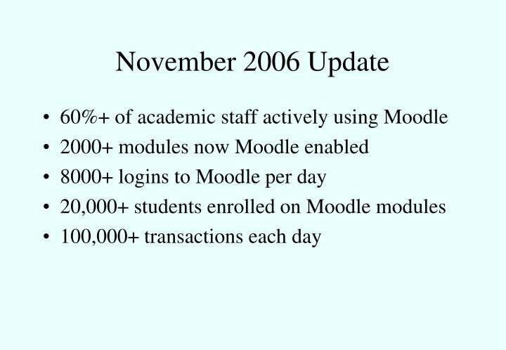 November 2006 Update