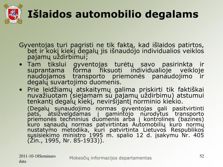 Išlaidos automobilio degalams