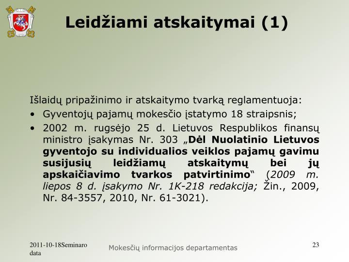Leidžiami atskaitymai (1)