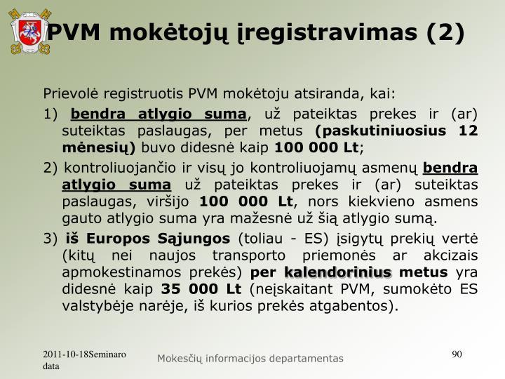 PVM mokėtojų įregistravimas (