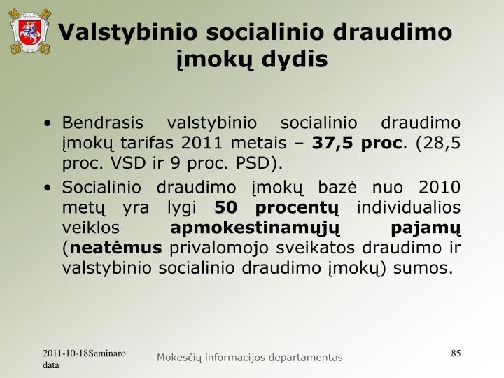 Valstybinio socialinio draudimo įmokų dydis